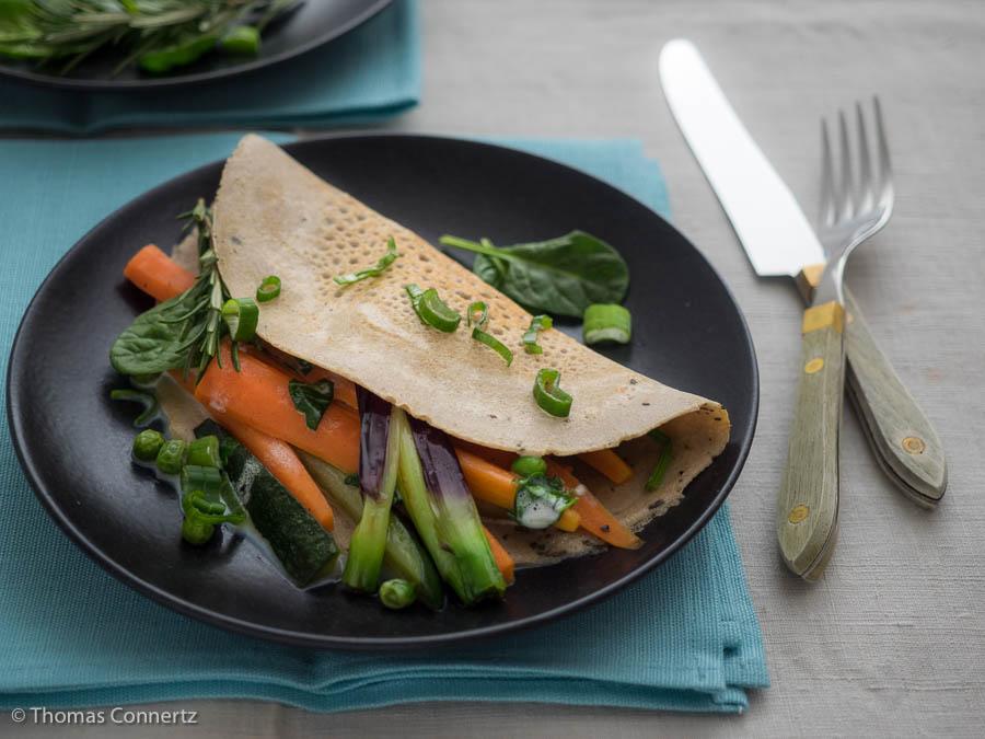 Buchweizen Pfannkuchen Gemüse