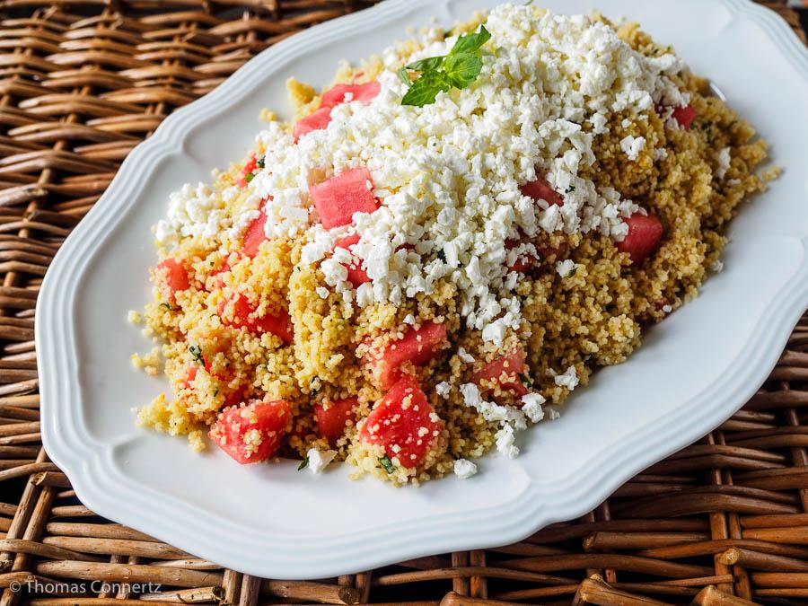 Couscous mit Wassermelone und Feta