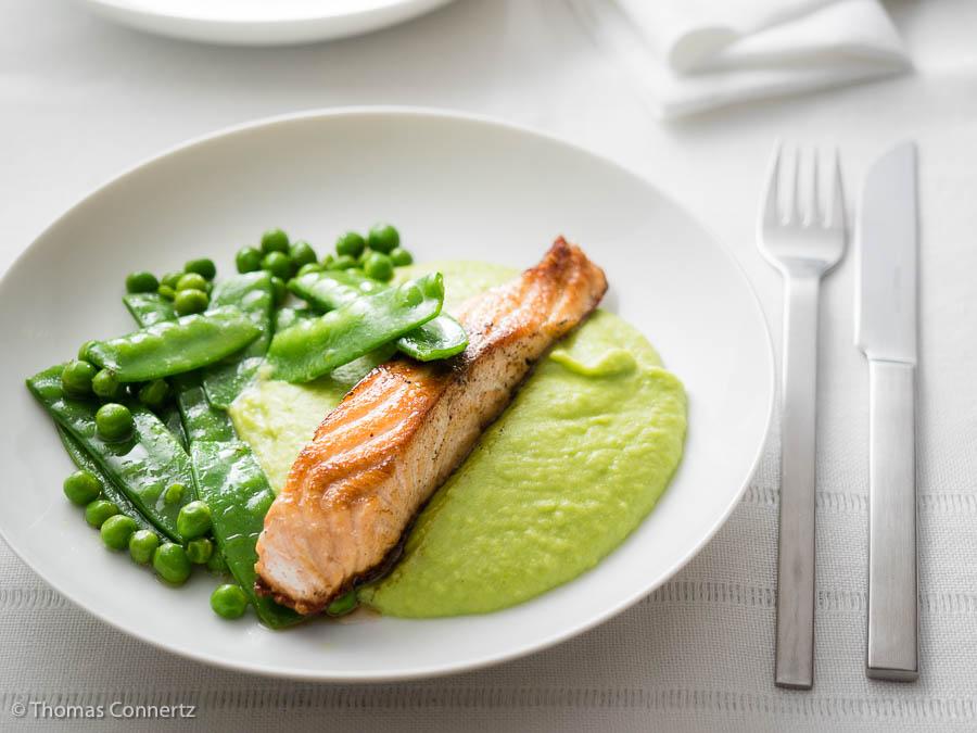 Erbsen-Salat, Erbsen-Püree, Lachs