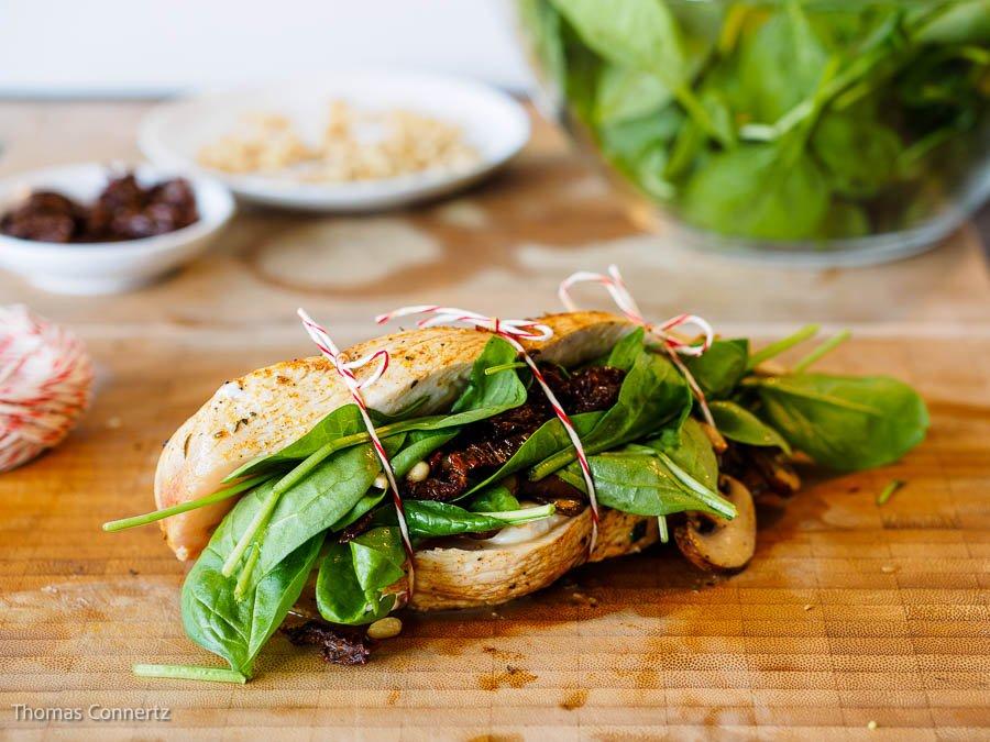 Haehnchenbrust Spinat Champignons