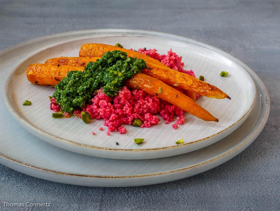 Karotten Moehren Pesto Couscous