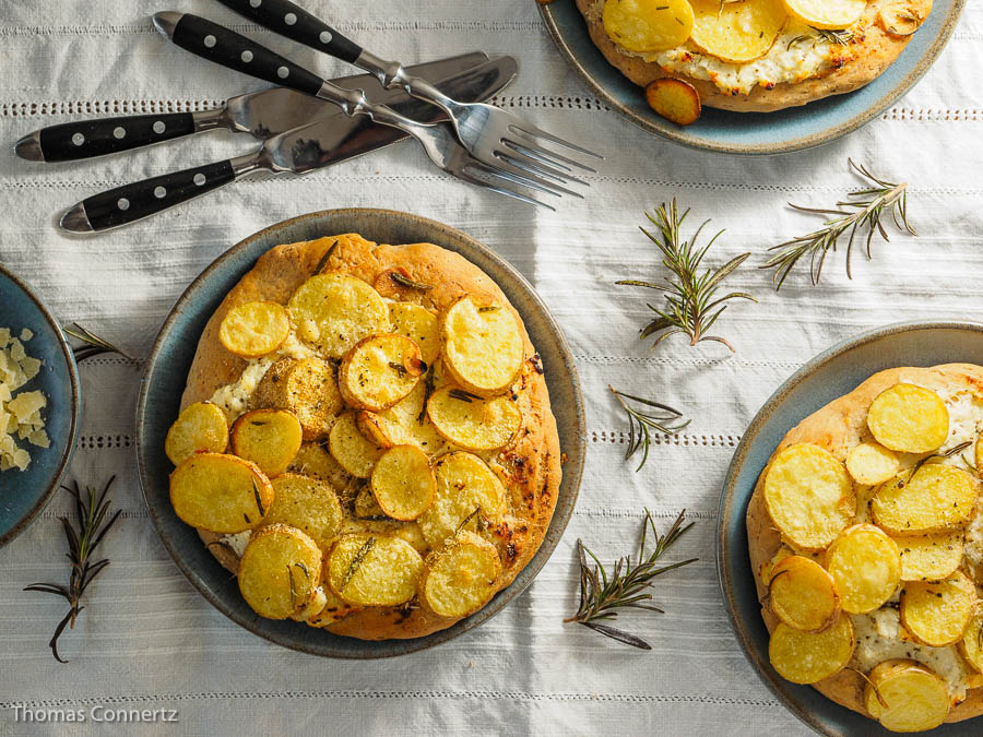 Kartoffelpizza Ricotta Rosmarin