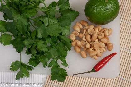 Koriander Erdnüsse Chili Limone