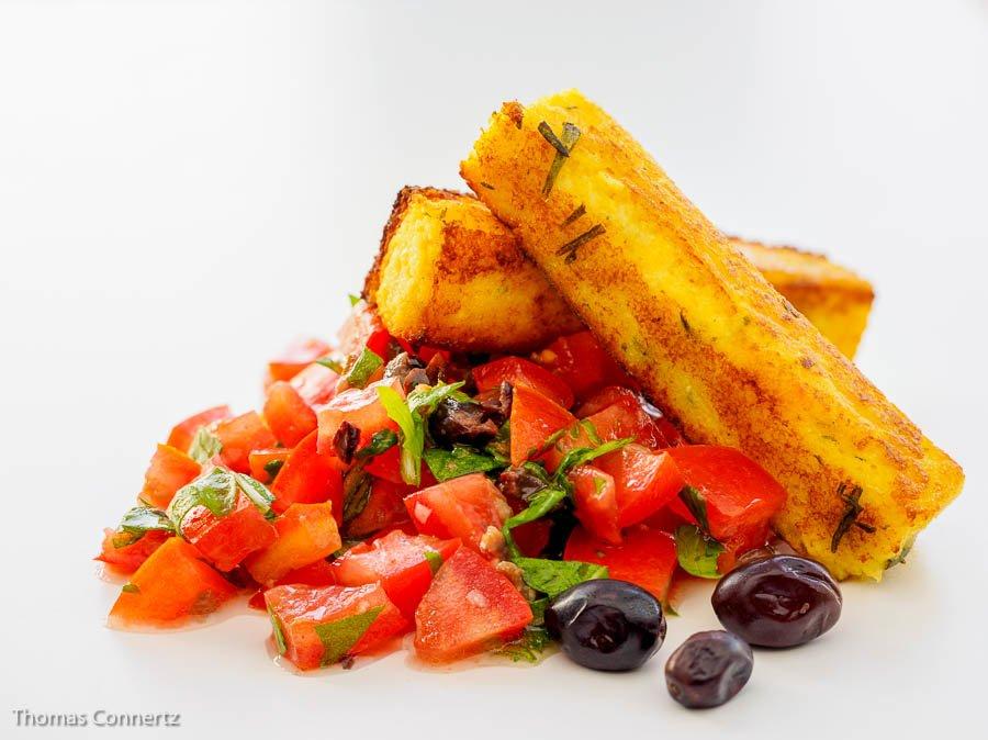 Polenta Tomaten Rucola Salsa