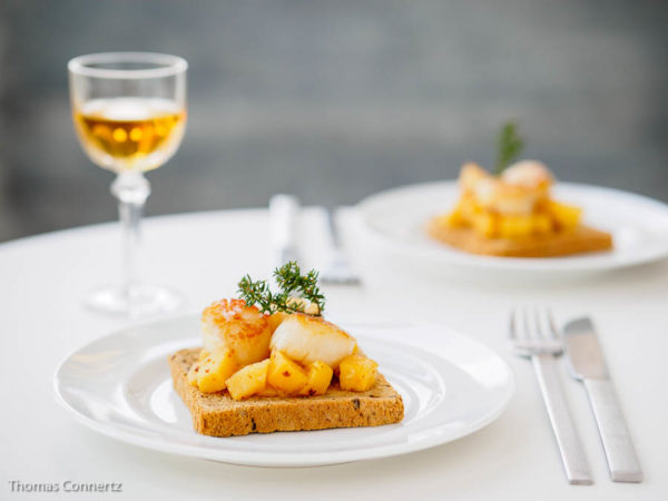 Quittenchutney Jakobsmuscheln Toast