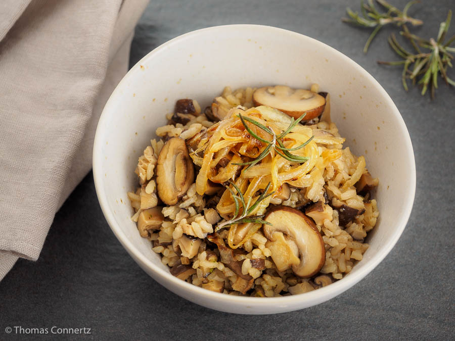 Reis Backofen Pilze