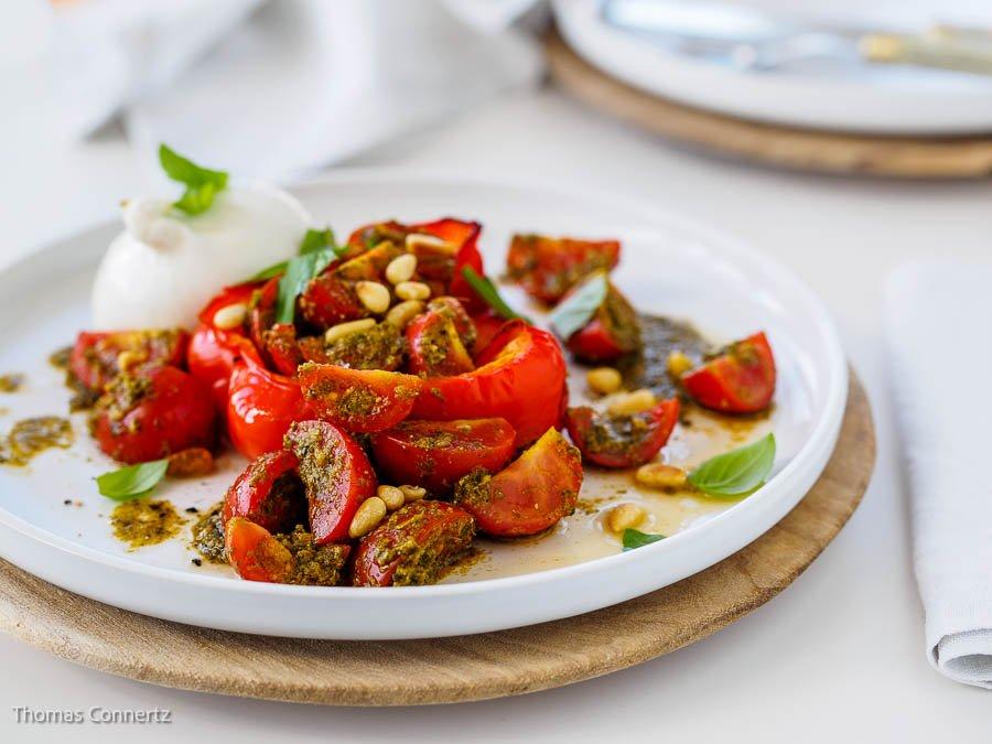 Rote Paprika Tomaten Burrata