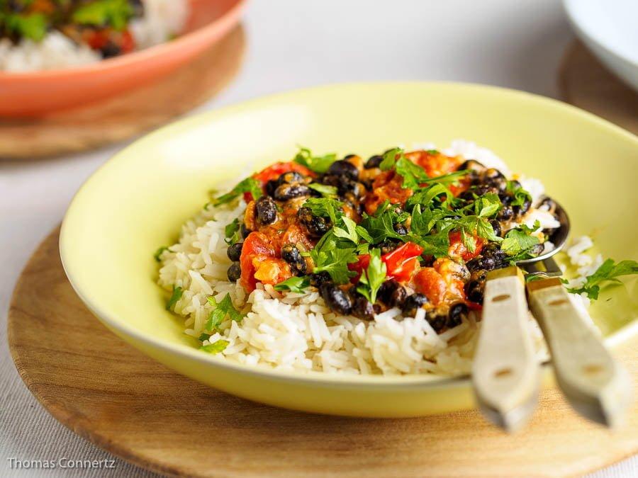 Schwarze Bohnen Reis Erdnussmus