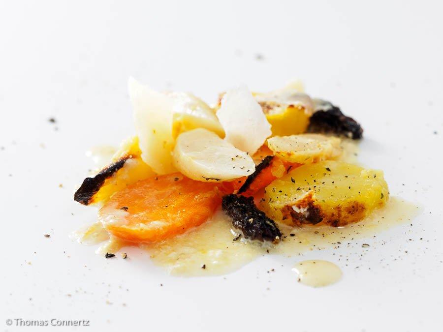 Schwarzwurzeln Morcheln Möhren Kartoffeln Parmesan