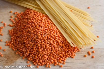 Spaghetti mit rotenLinsen