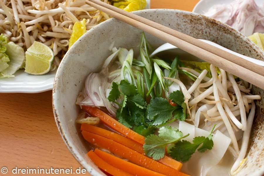 Vietnamesische Hühnersuppe mit-Reisnudeln